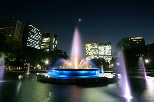 Fountain Illuminated at Night, Hibiya Park, Chiyoda, Tokyo, Japan